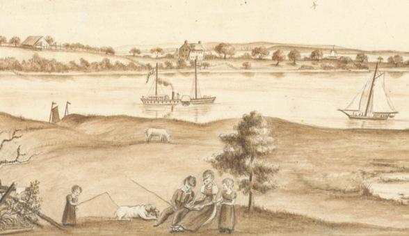 """Anne Marguerite Hyde de Neuville (ca. 1749-1849), """"Vue d'Amboy et du Steam-Boat"""" 28 juillet 1809"""